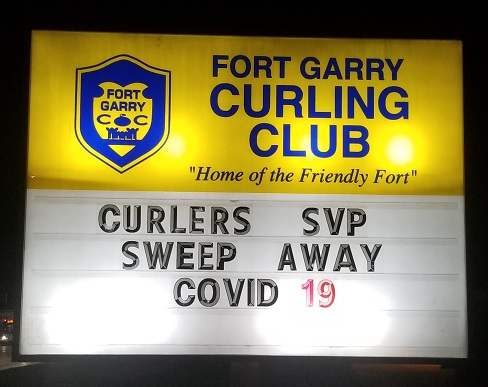 Curlers Sweep Covid sign